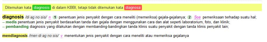 Diagnosa vs Diagnosis