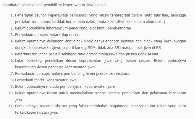 Hambatan Pelaksanaan Pendidikan Keperawatan Jiwa di Indonesia